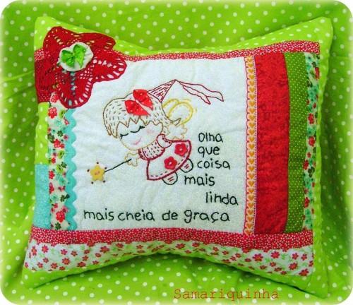 Подушка с вышивкой феи