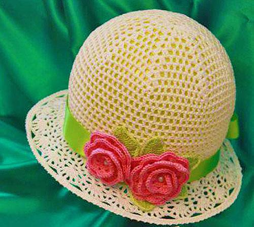 Вязаная летняя шляпка крючком