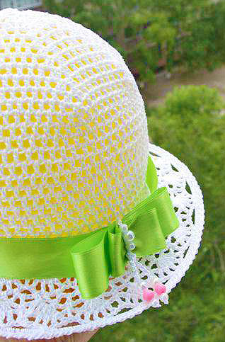 вязанная крючком летняя шляпка
