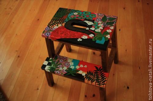 Роспись мебели - скамейка лесенка