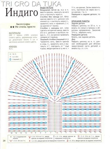 Схема вязания полукруглой сумки крючком