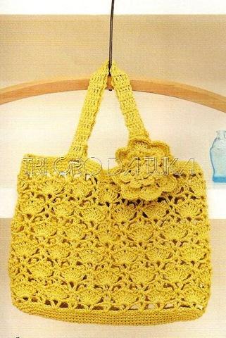 Желтая сумочка крючком с цветами