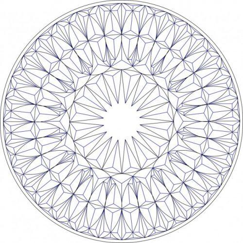 Геометрическая резьба по дереву - рисунок круглой розетки